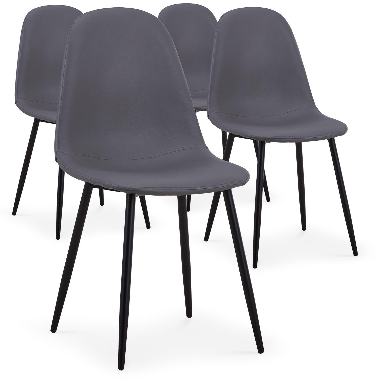 Lot de 4 chaises Gao Simili P.U. Gris