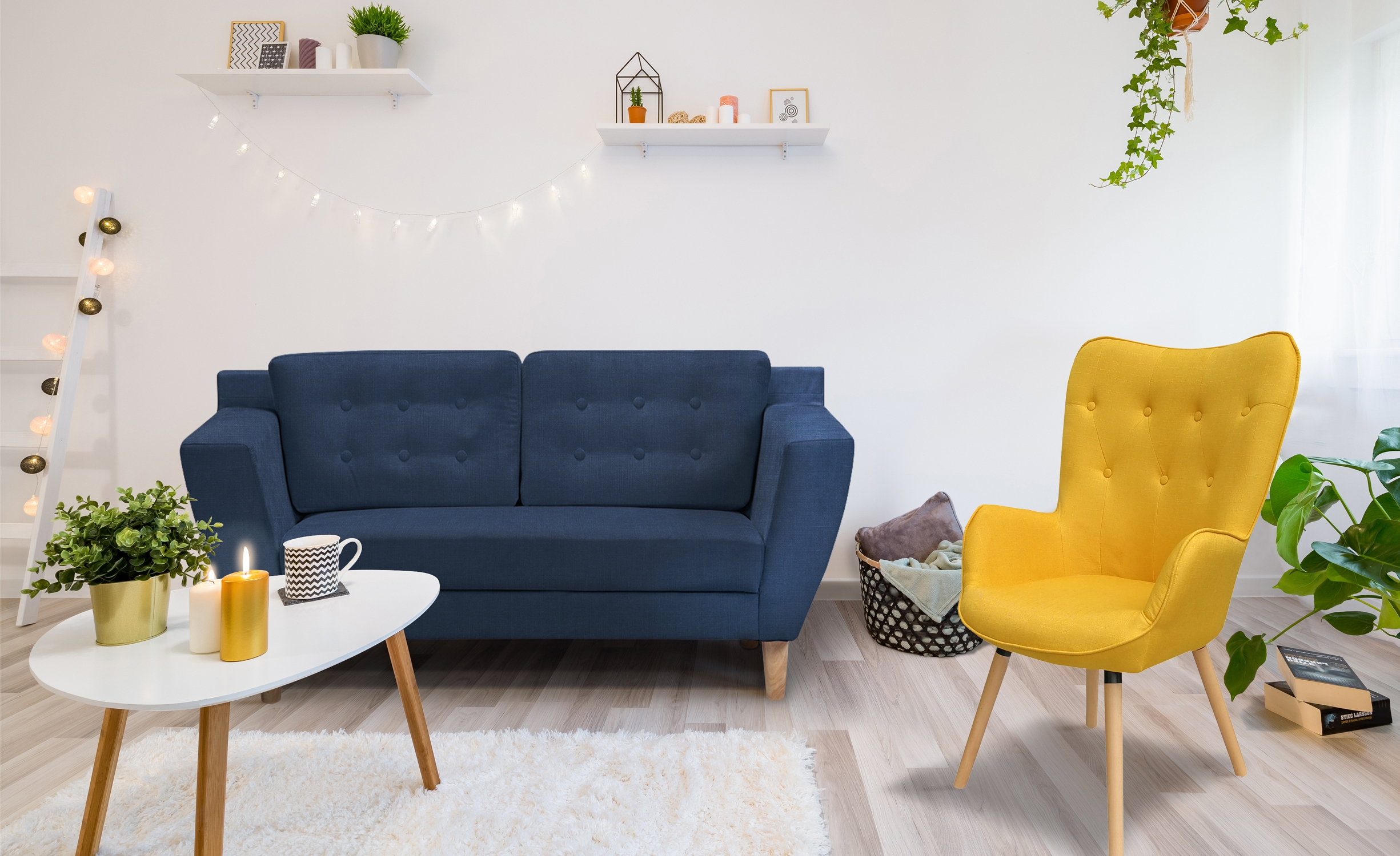 Canapé 2 places Gibus Tissu Bleu
