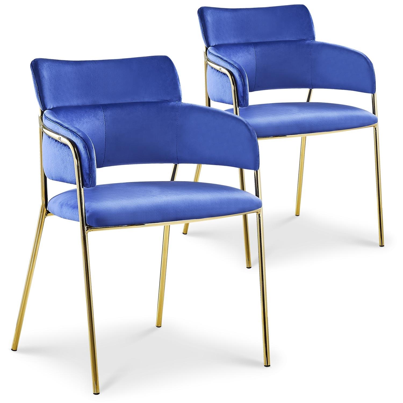 Lot de 2 chaises / fauteuils Ginko Velours Bleu
