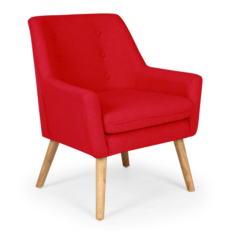 Fauteuil scandinave Gustav tissu Rouge