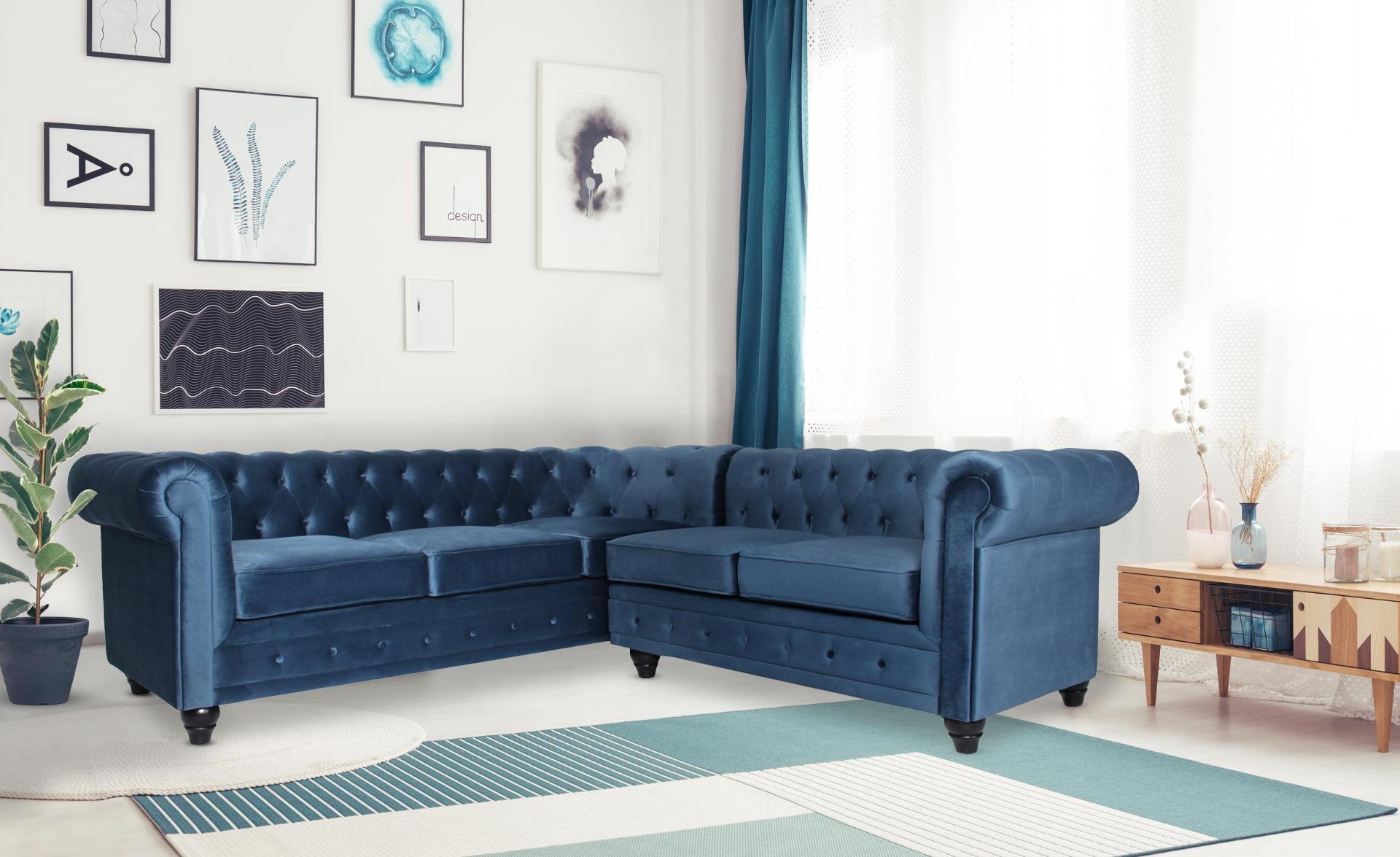 Canapé d'angle capitonné style chesterfield Gustave Velours Bleu