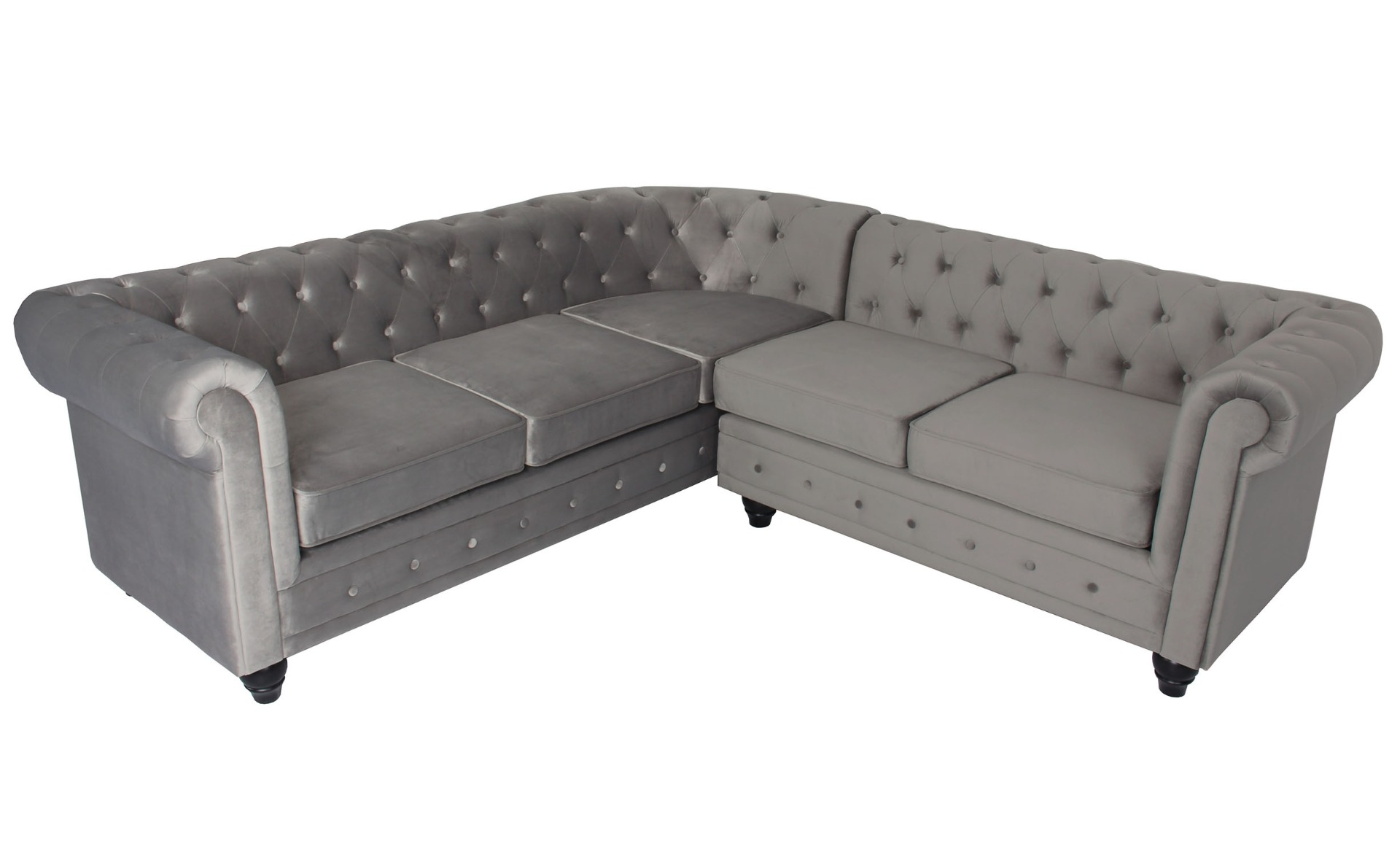 Canapé d'angle capitonné style chesterfield Gustave Velours Argent