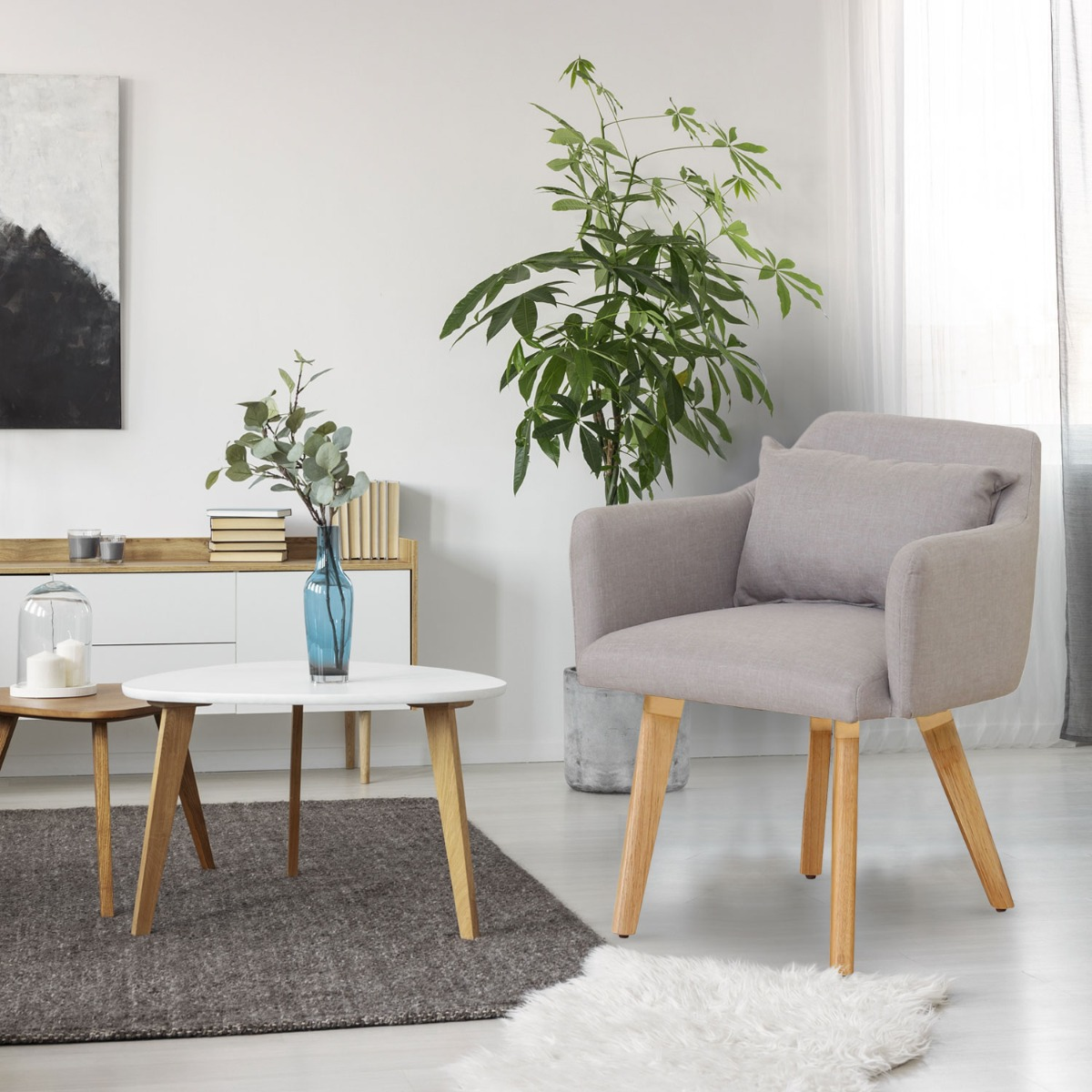 Lot de 20 chaises / fauteuils scandinaves Gybson Tissu Beige