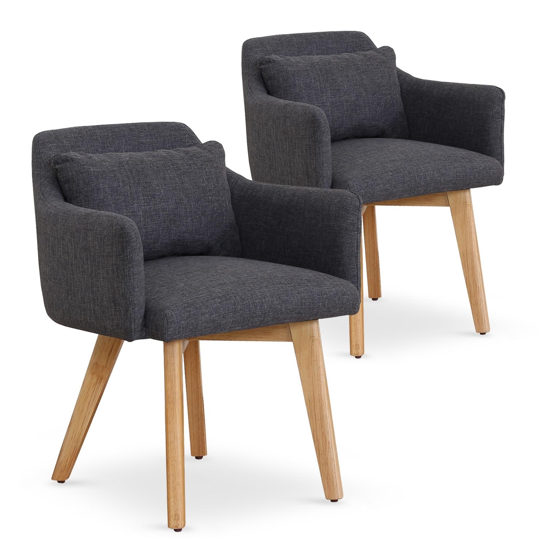 Lot de 2 fauteuils scandinaves Gybson Tissu Gris foncé