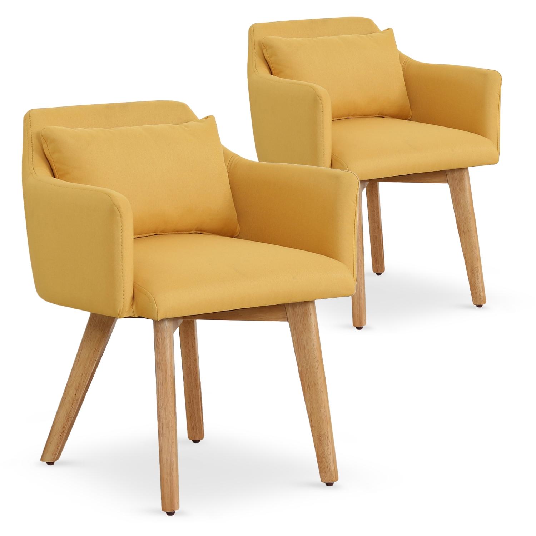 Lot de 2 fauteuils scandinaves Gybson Tissu Jaune