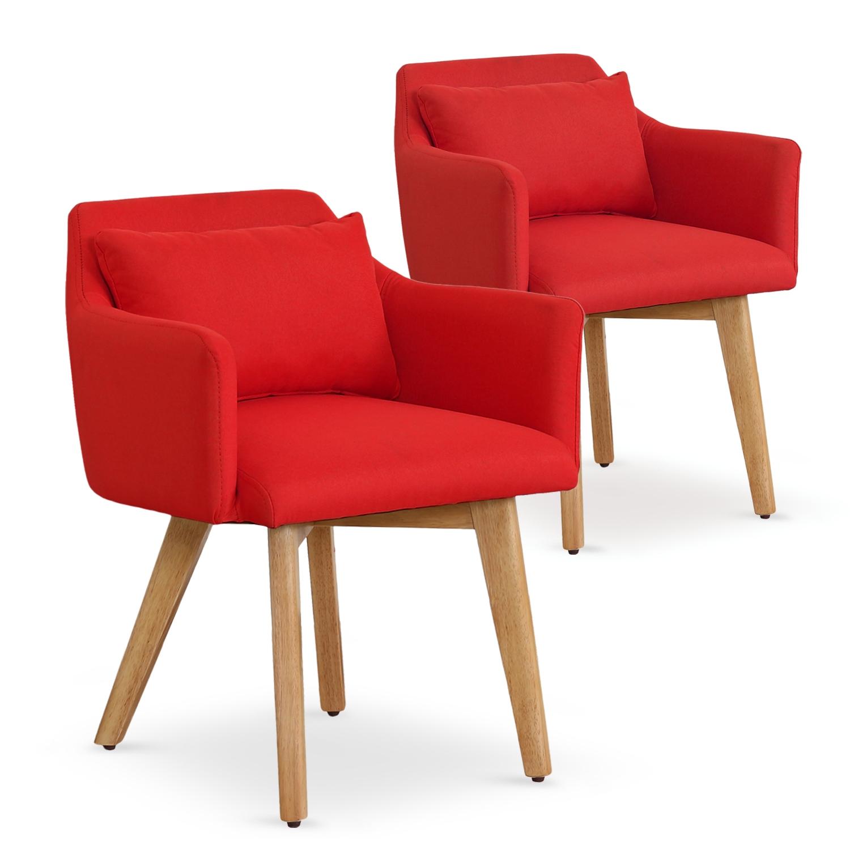 Lot de 2 fauteuils scandinaves Gybson Tissu Rouge