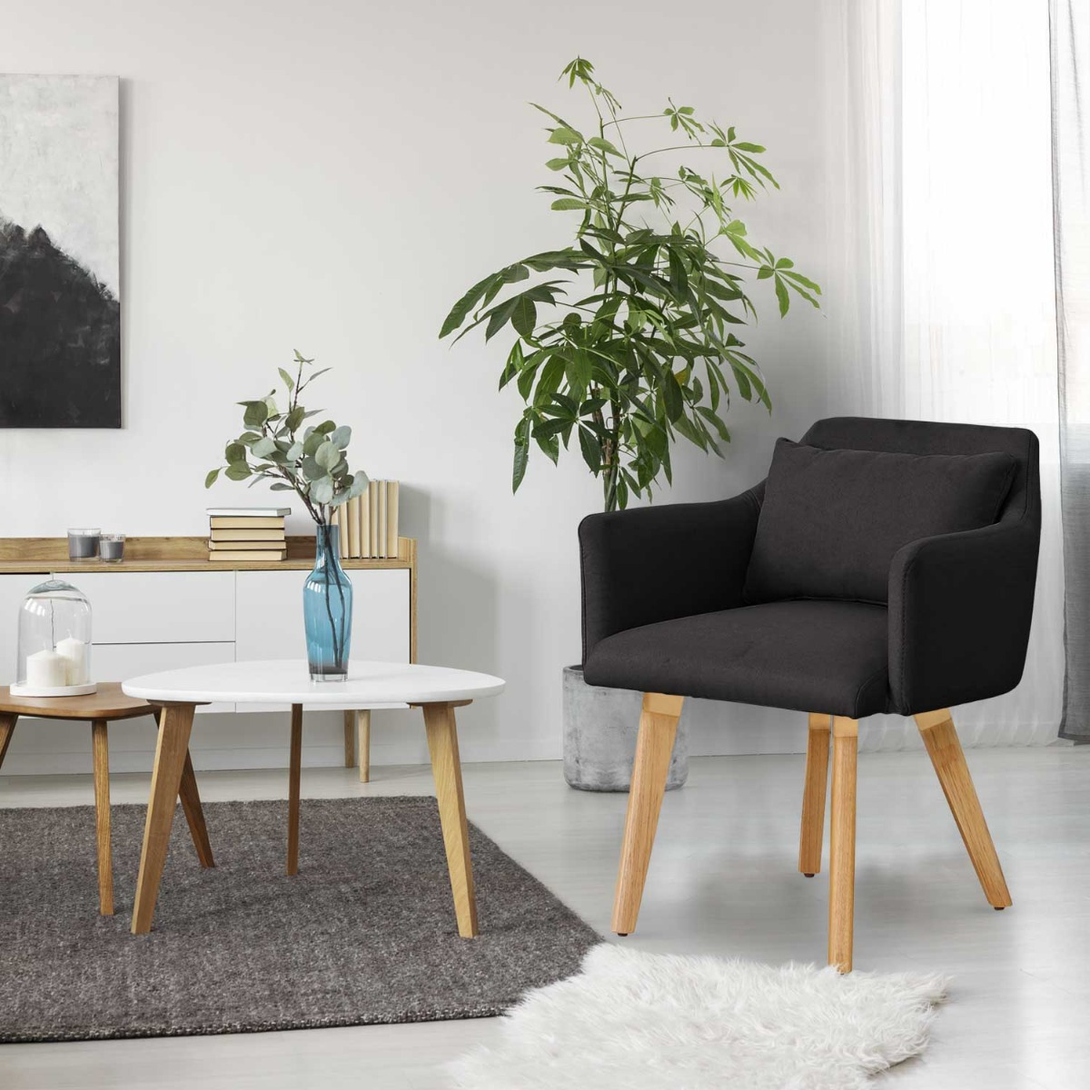 Lot de 2 fauteuils scandinaves Gybson Tissu Noir