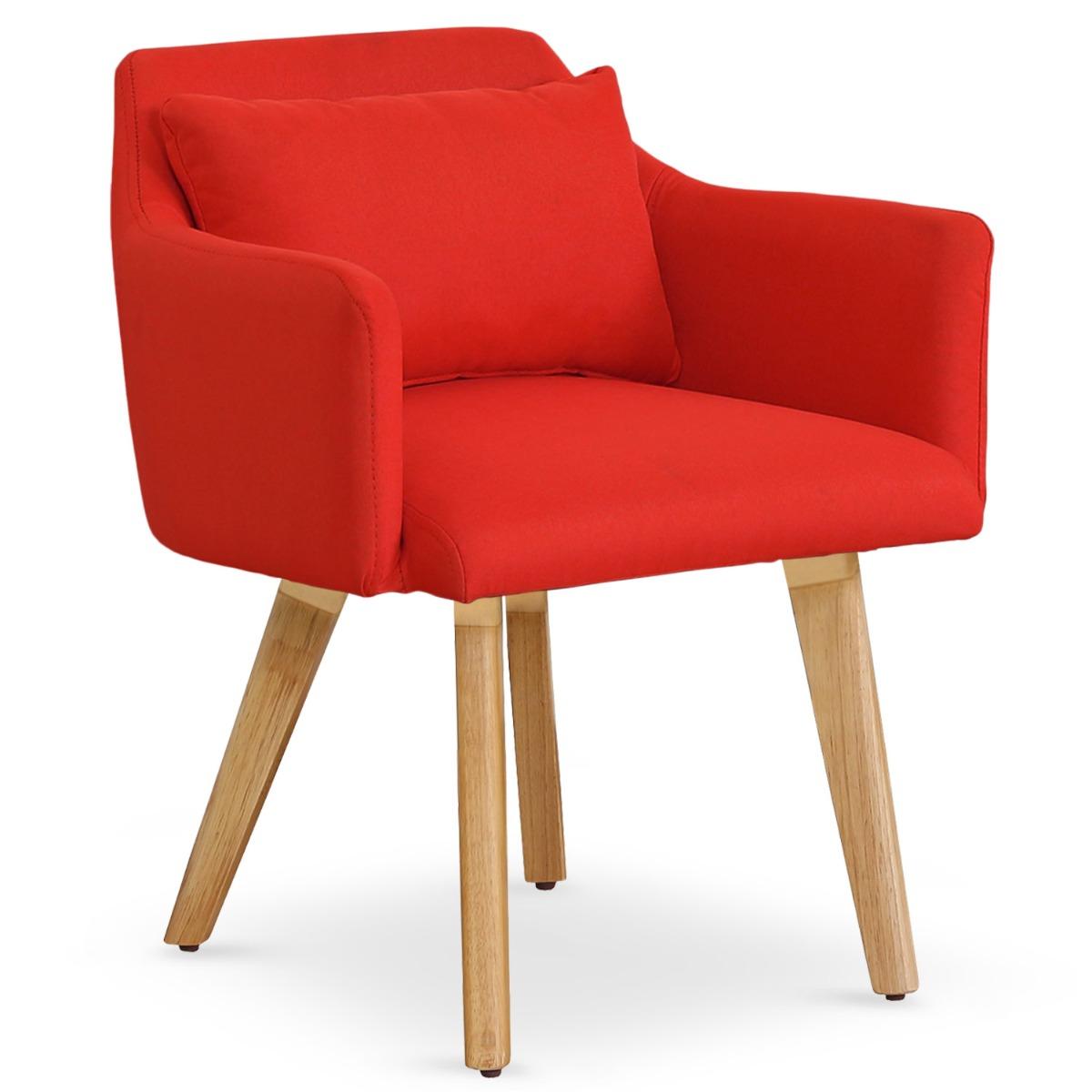 Lot de 20 chaises / fauteuils scandinaves Gybson Tissu Rouge