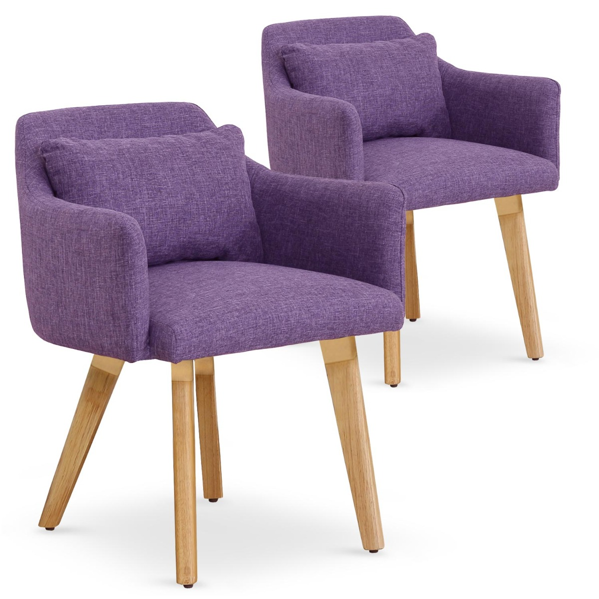 Lot de 2 fauteuils scandinaves Gybson Tissu Violet