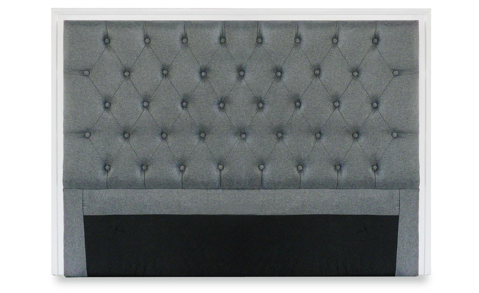 Tête de lit Hermione 140cm Bois blanc et Tissu Gris clair