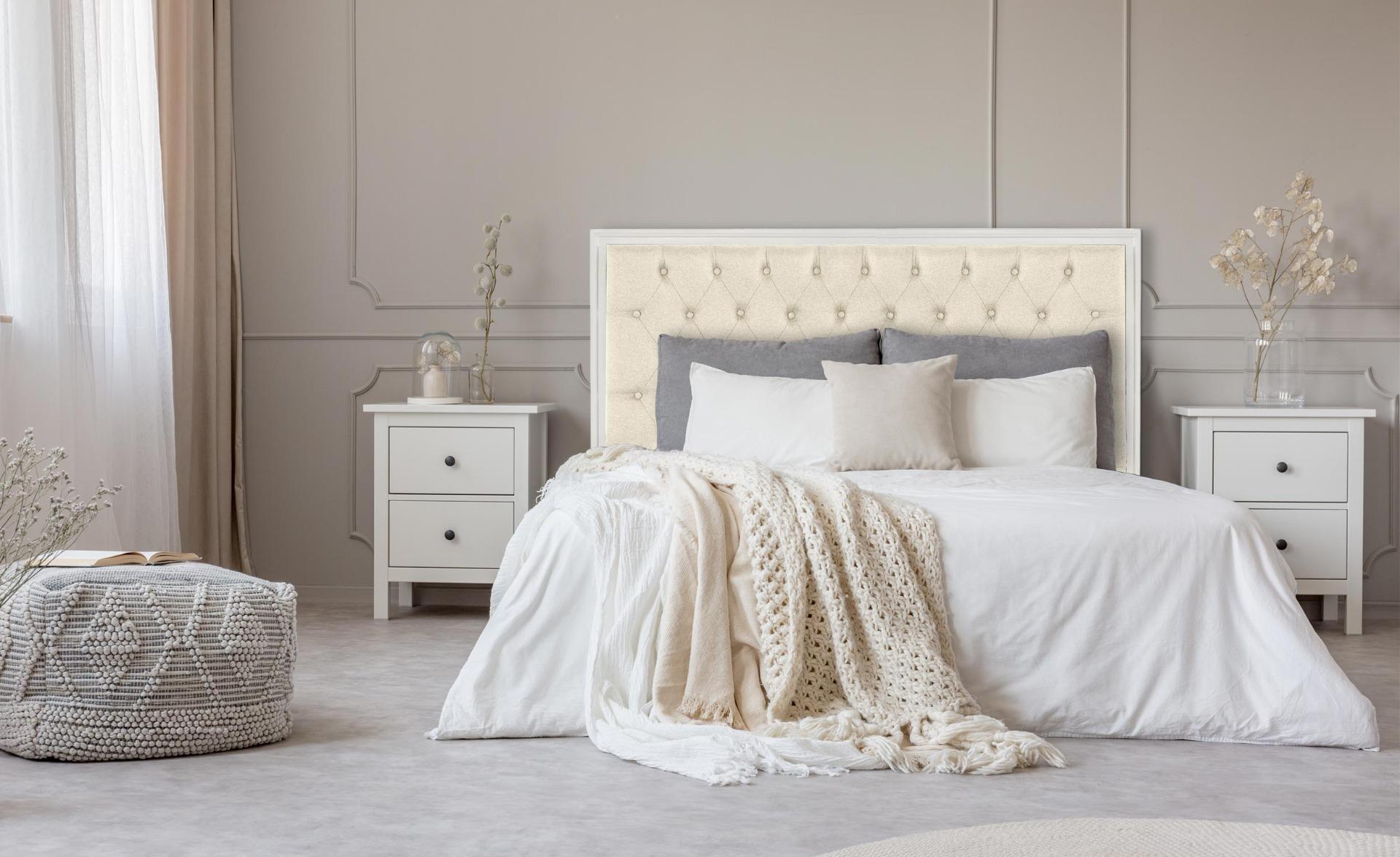 Tête de lit Hermione 160cm Bois blanc et Tissu Beige