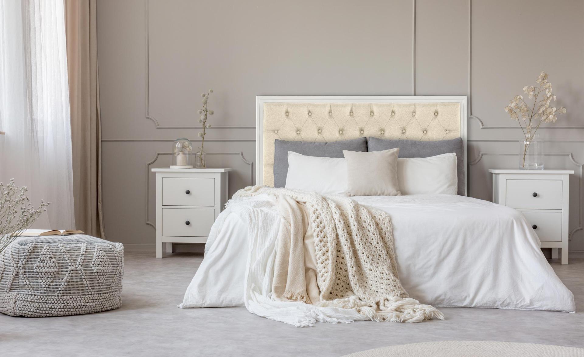 Tête de lit Hermione 140cm Bois blanc et Tissu Beige