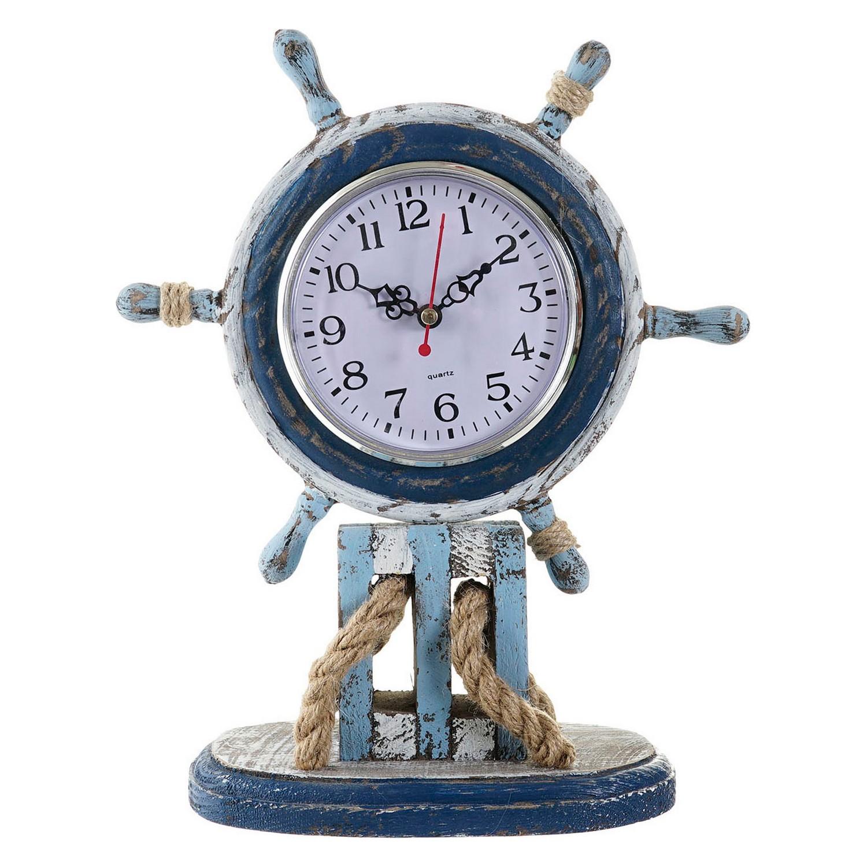 Horloge de table Magellan 23x30cm Bois Bleu et Blanc