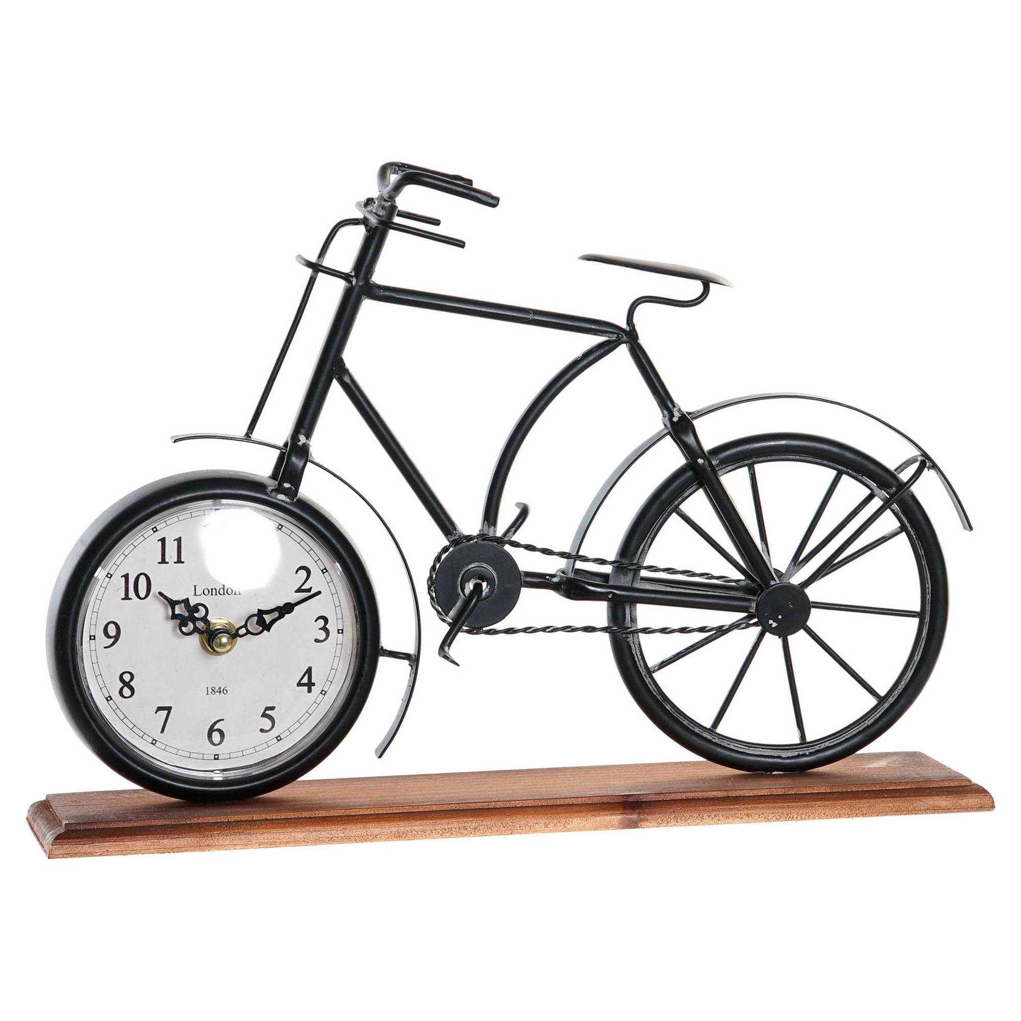 Horloge de table Eddy 34x23,5cm Bois Marron et Métal Noir
