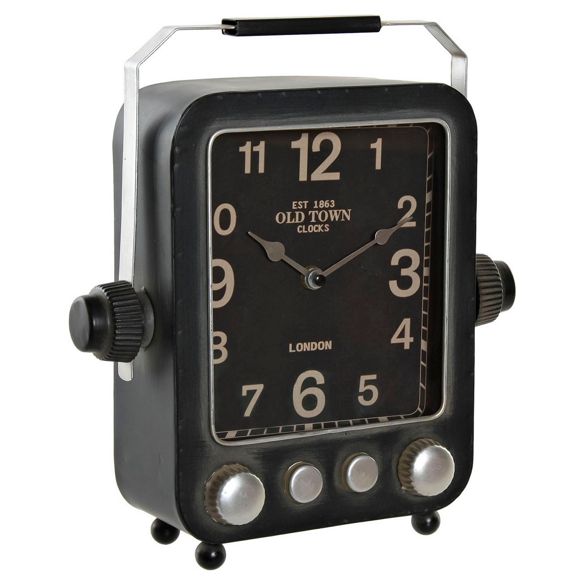 Horloge de table Hawk 28x31,5cm Métal Gris