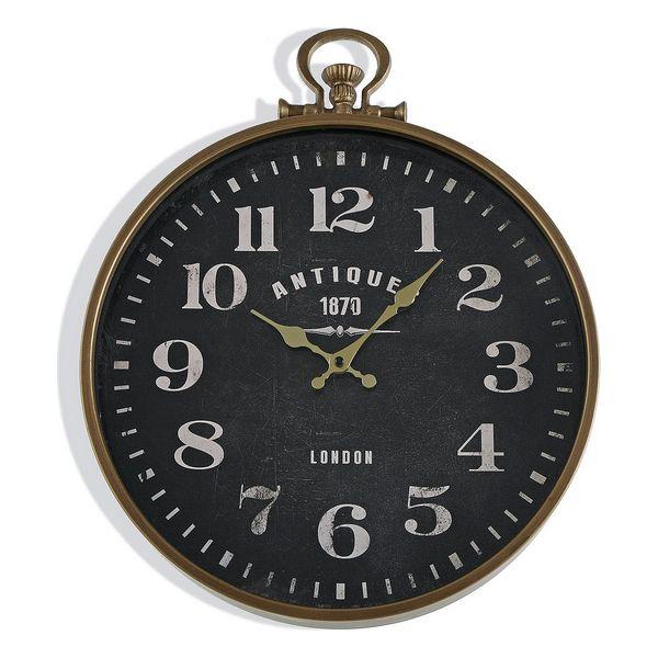 Horloge murale Centurius D40cm Bois Noir et Métal Or