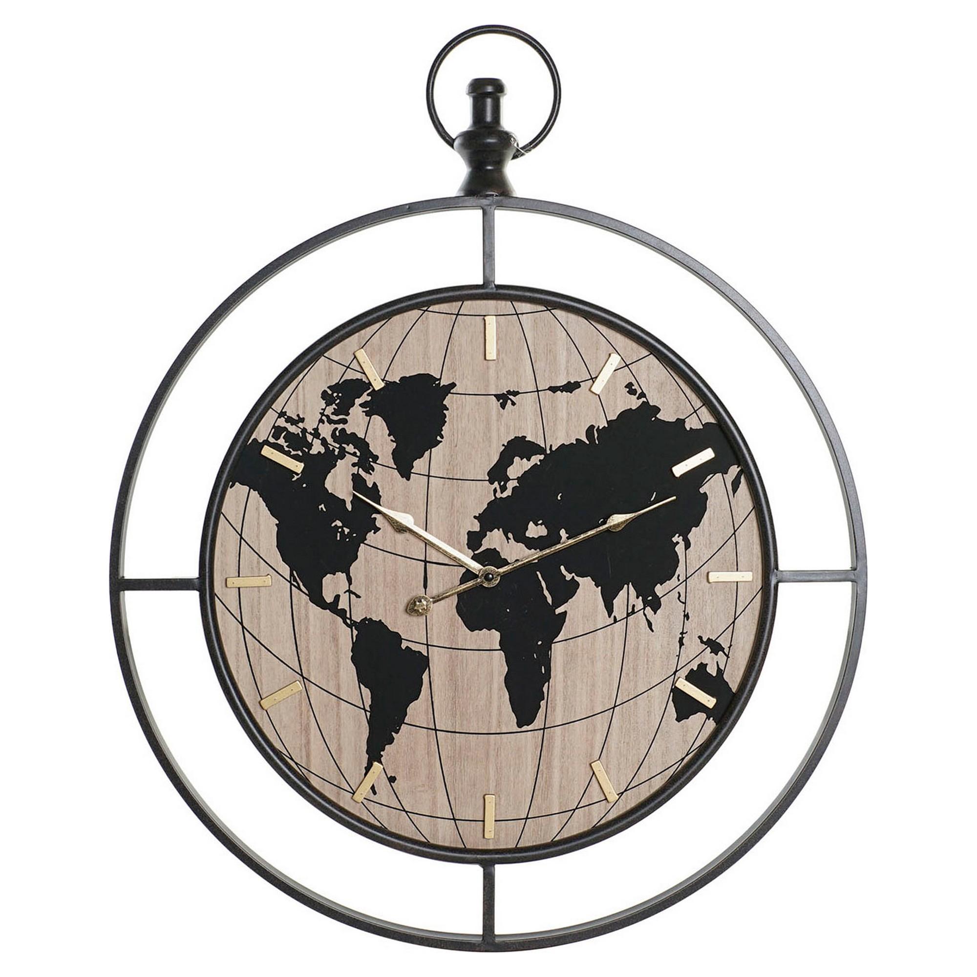 Horloge murale Erde 60x74cm Métal Noir et Bois Beige