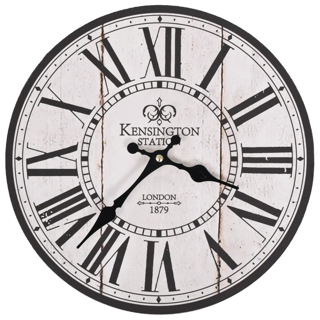 Horloge murale vintage Kensington 30cm Beige et noir
