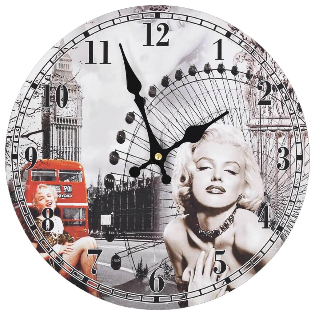 Horloge murale vintage Monroe D30cm Bois Gris