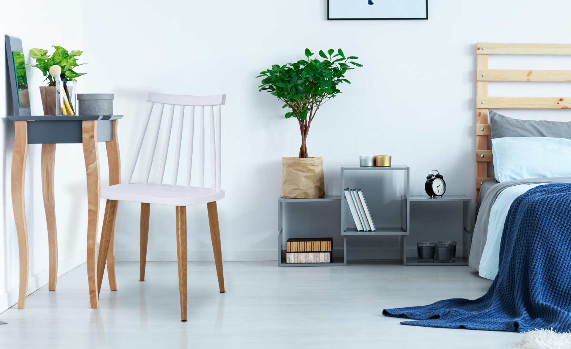 Lot de 4 chaises scandinaves Houlgate Blanc