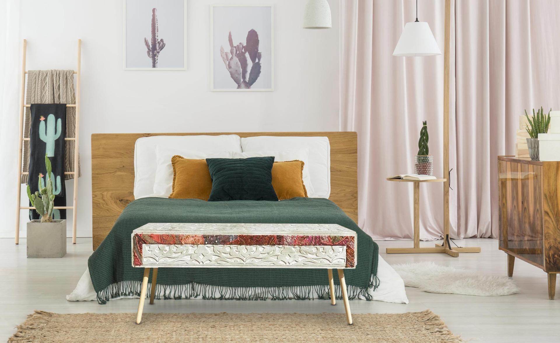 Bout de lit Jadida Blanc et Tissu
