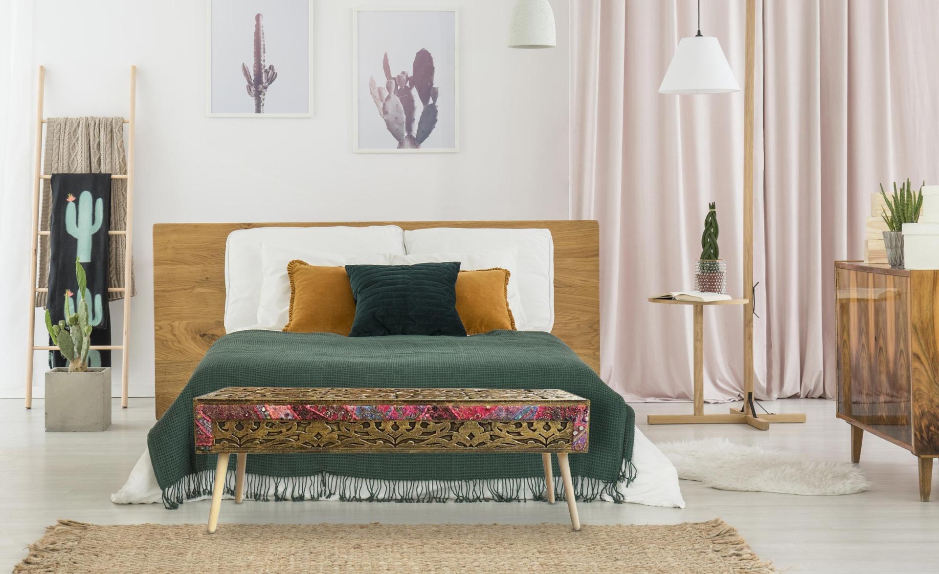 Bout de lit Jadida Bronze et Tissu