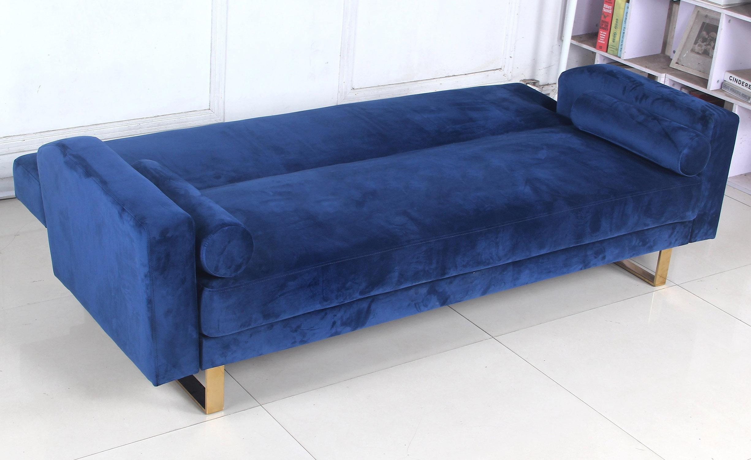 Canapé convertible clic-clac Djobi Velours Bleu Pied Or