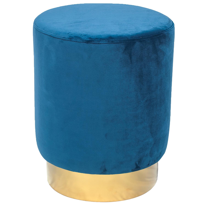 Tabouret Jona Velours Bleu Pied Or