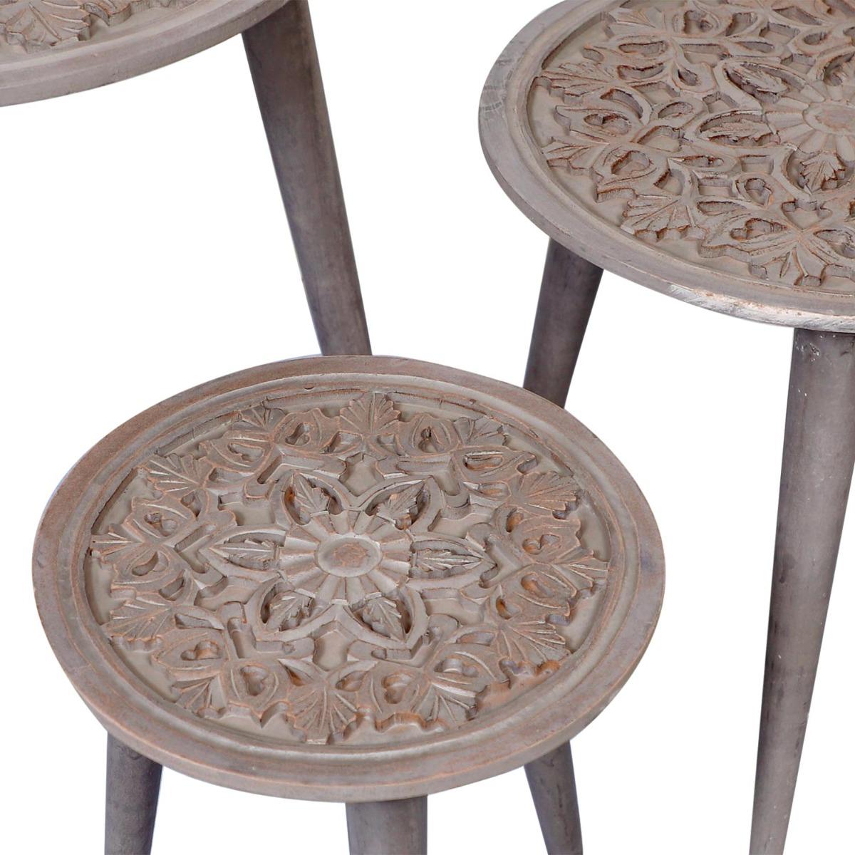 Ensemble de 3 tables gigogne Kairouan Marron