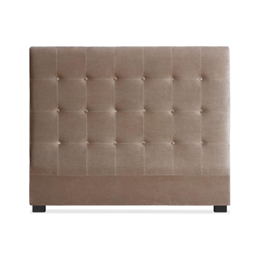 Tête de lit capitonnée pour lit au sommier de taille standard 140cm Luxor velours Taupe