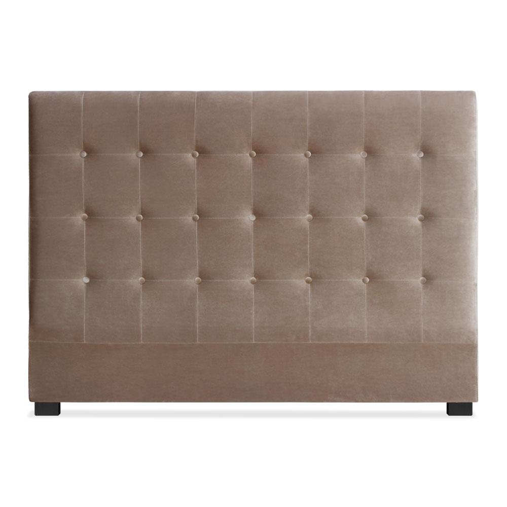 Tête de lit capitonnée pour lit au sommier de taille standard 160cm Luxor velours Taupe