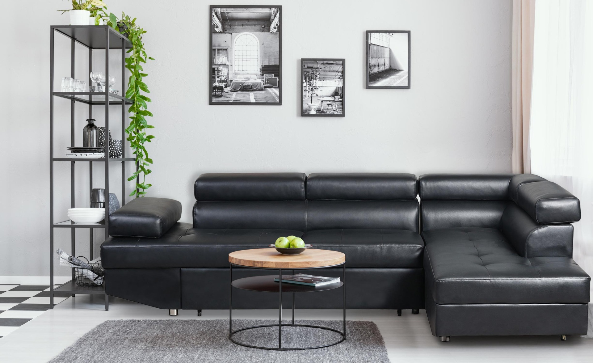 Canapé d'angle convertible Lido Noir