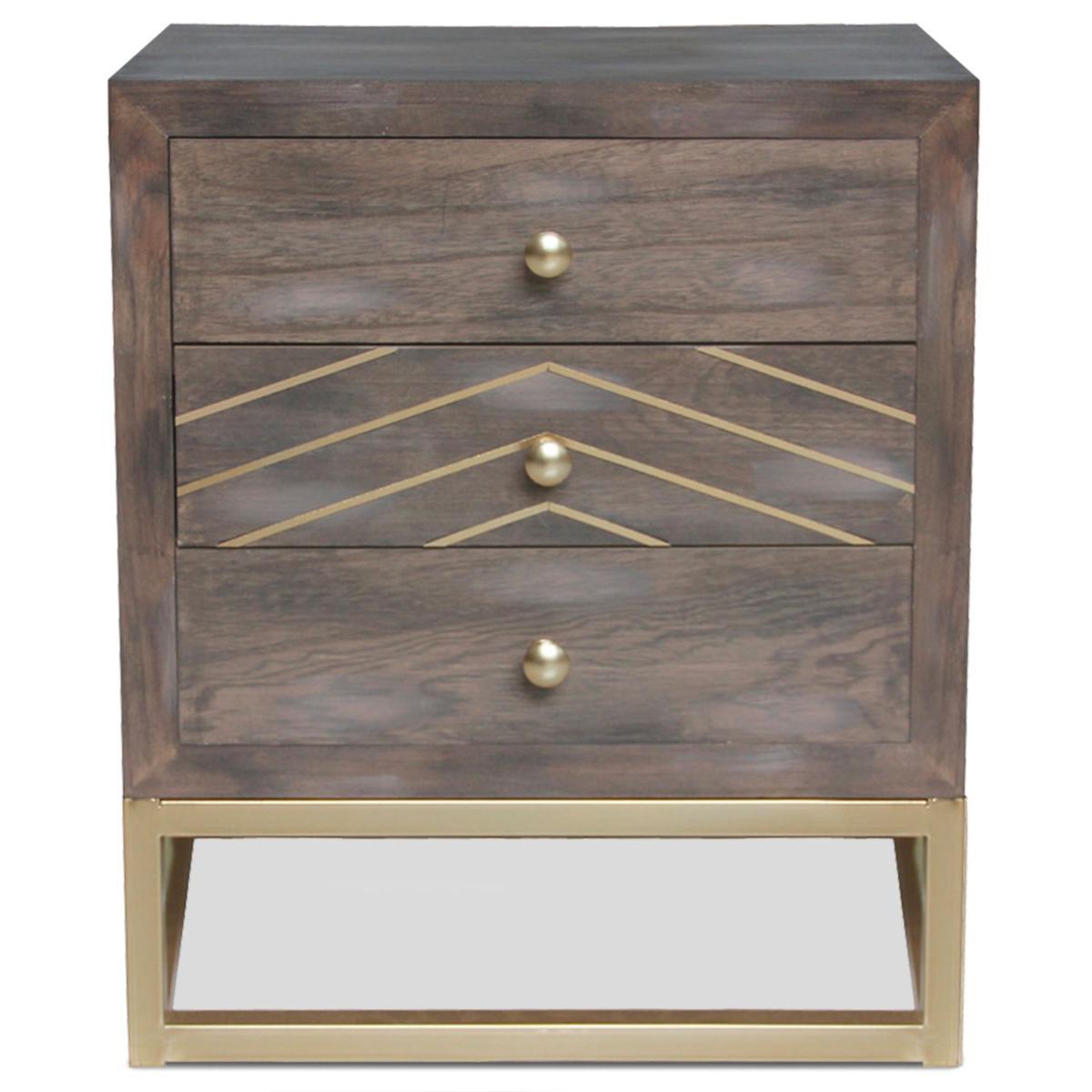 Table de chevet Lipnia scandinave 3 tiroirs Bois vintage