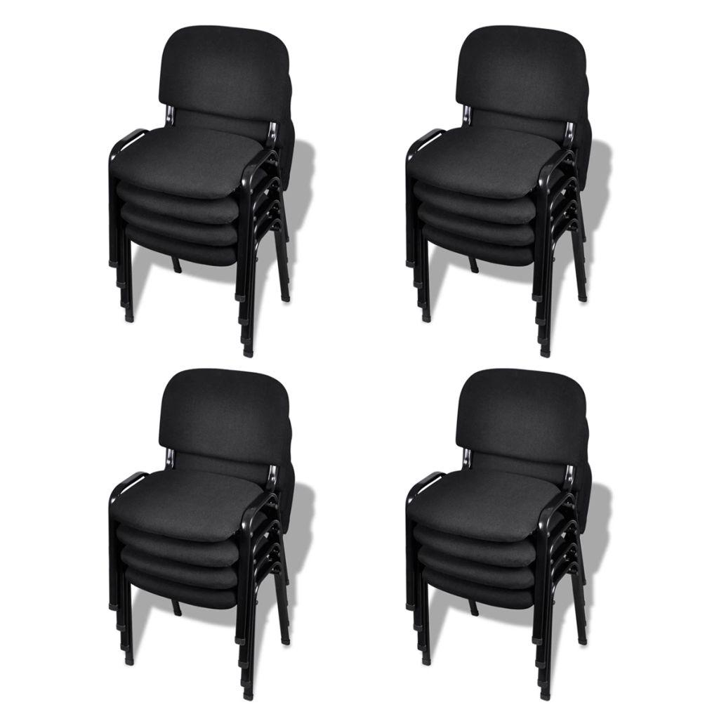 Lot de 16 Chaises de bureau empilables Blizz Tissu Noir