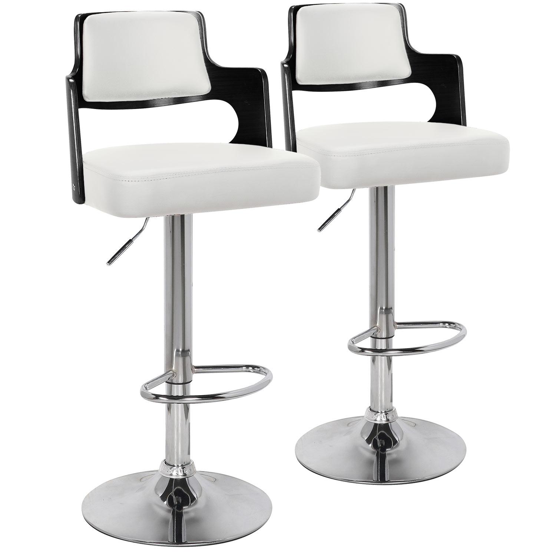 Lot de 2 chaises de bar Russel Bois Noir & Simili Blanc