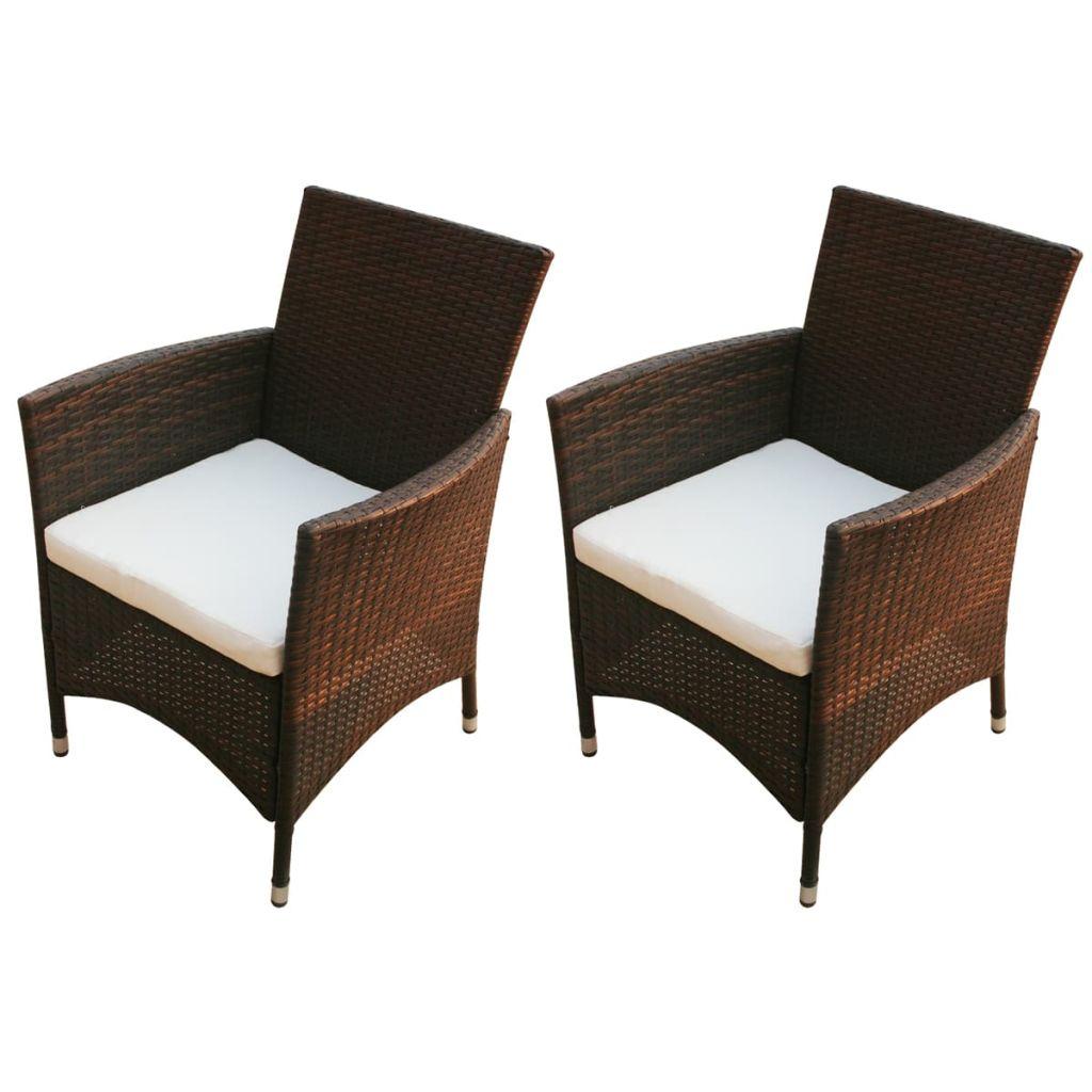 Lot de 2 chaises de jardin Coucou Résine tressée Marron