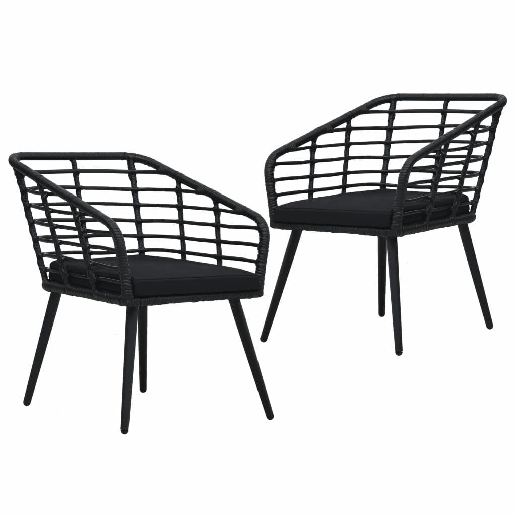Lot de 2 chaises de jardin Lusaka Résine tressée Noir