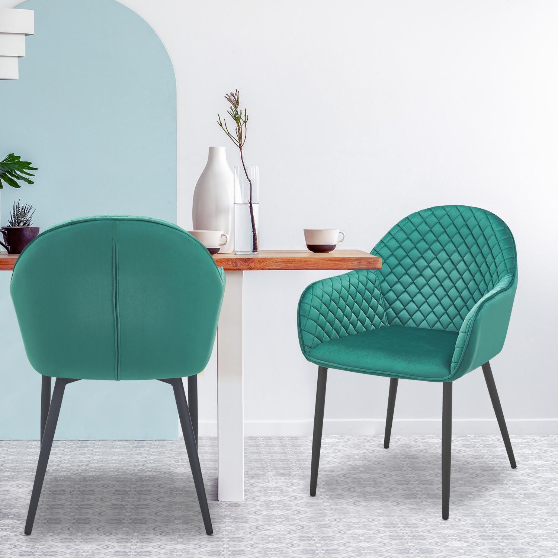 Lot de 2 chaises Erika Velours Vert