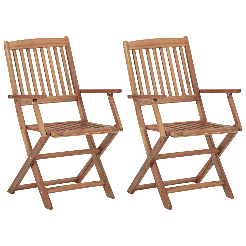 Lot de 2 chaises pliables Malabo Bois Naturel