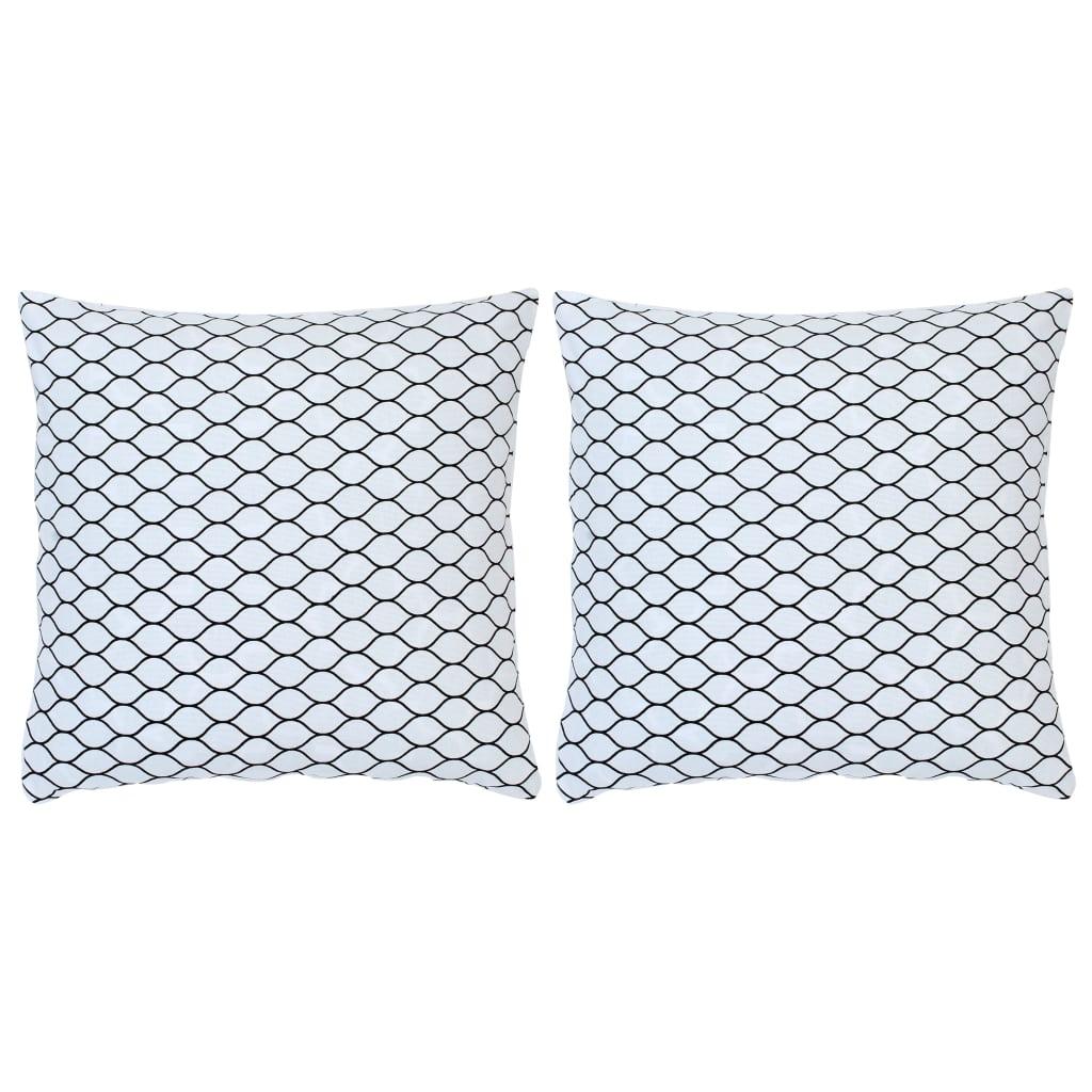 Lot de 2 coussins décoratifs imprimés Contrastin Coton Blanc 40x40cm