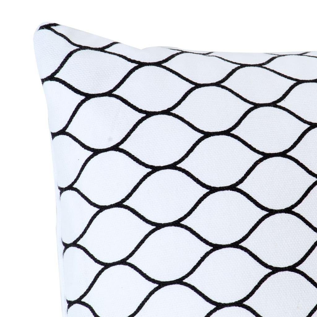 Lot de 2 coussins Contrastin Tissu Blanc Motif grille 40x40cm