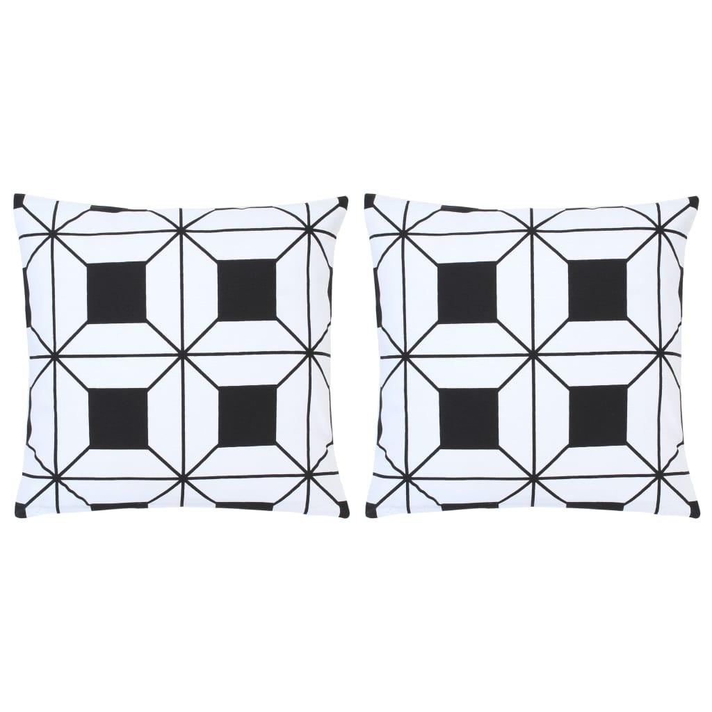 Lot de 2 coussins décoratifs imprimés Contrastin Coton Noir et Blanc 40x40cm