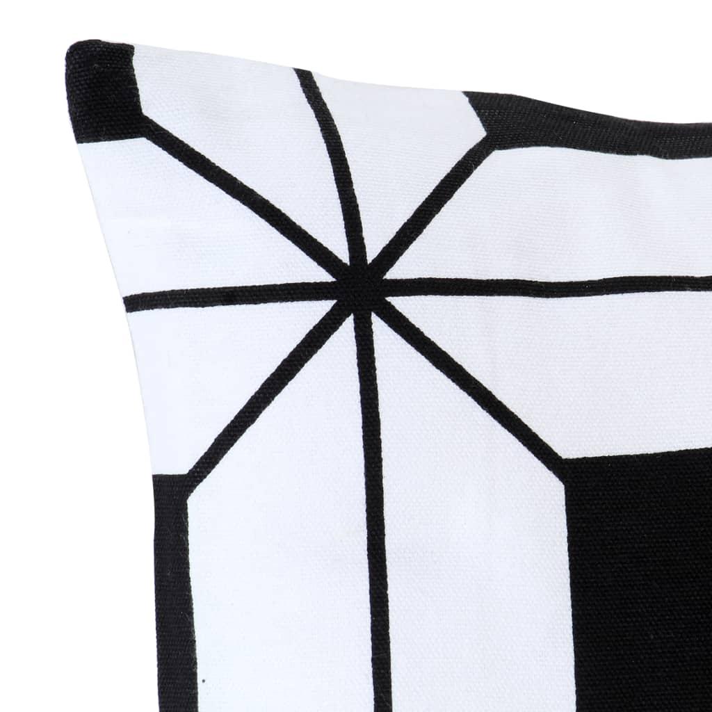 Lot de 2 coussins Contrastin Tissu Noir et Blanc Motif graphique 40x40cm
