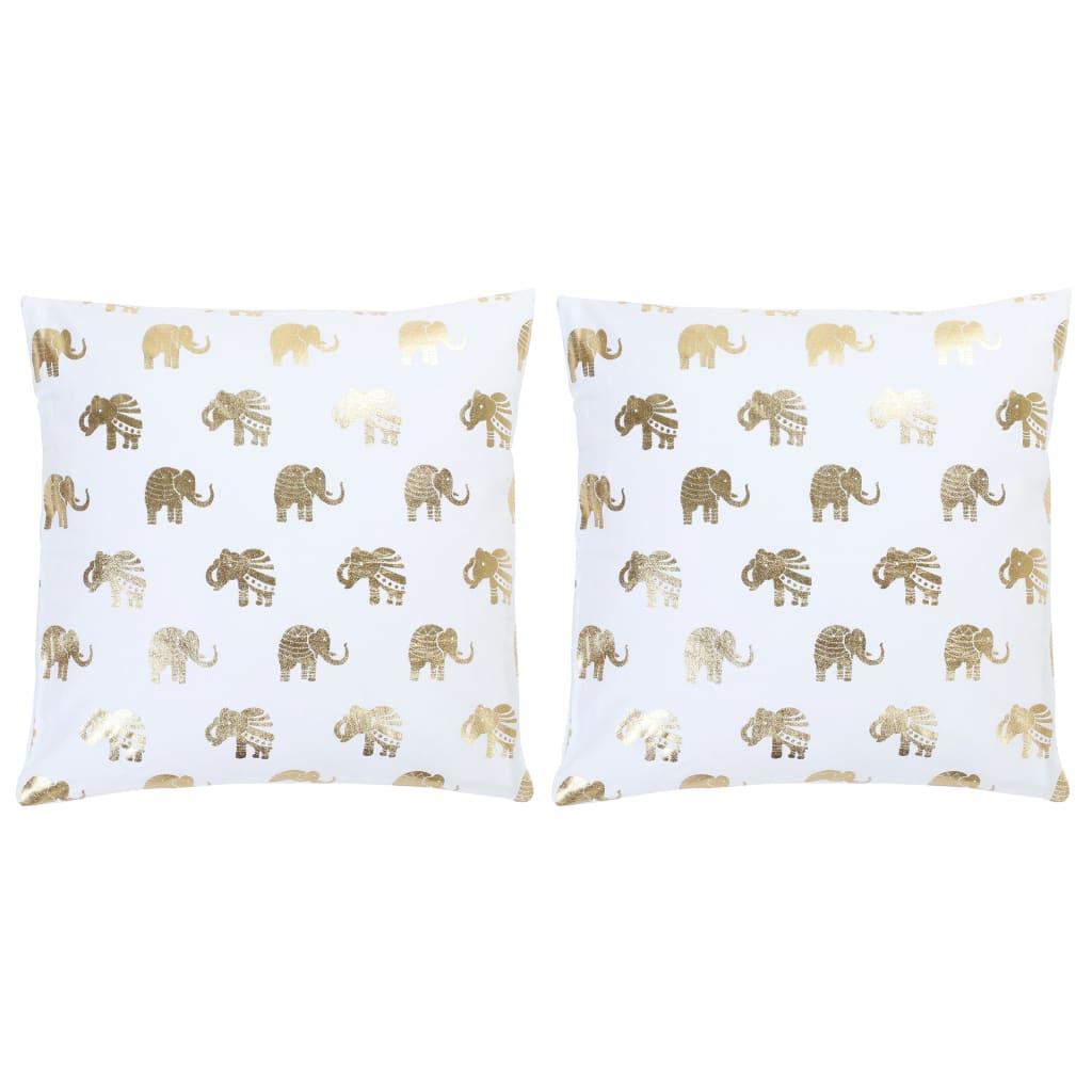 Lot de 2 coussins Ornicar Tissu Blanc motif éléphant doré 40x40cm
