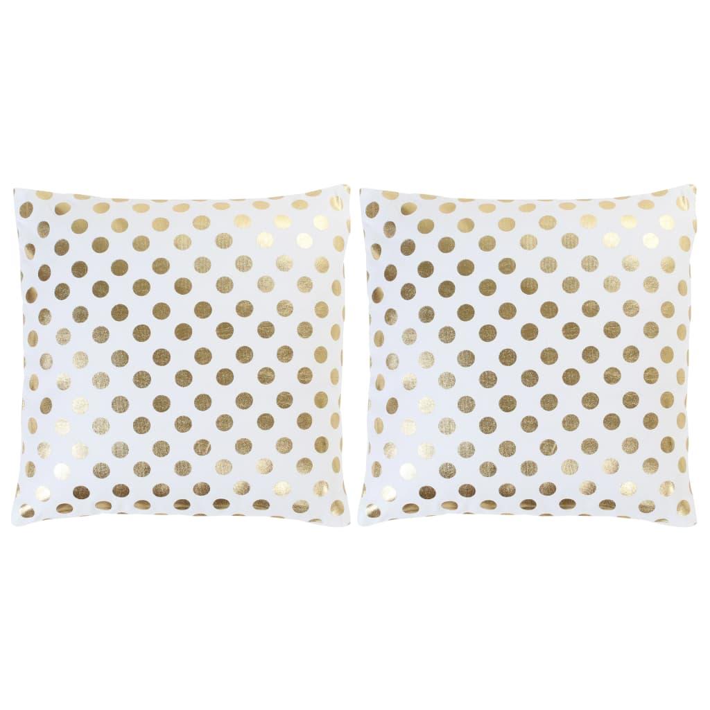 Lot de 2 coussins Ornicar Tissu Blanc motif pois doré 40x40cm