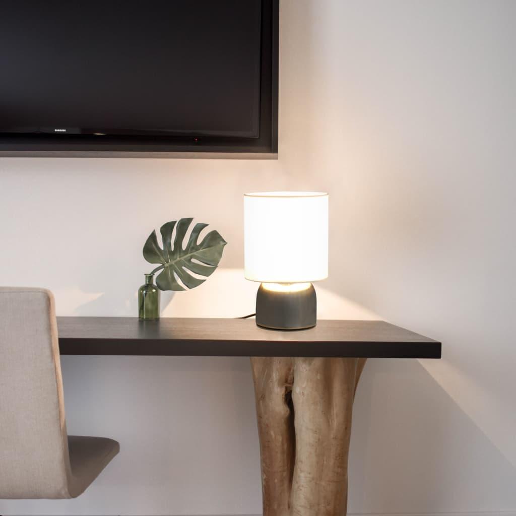 Lot de 2 Lampes de table tactiles Schlau Métal Argent et Tissu Blanc