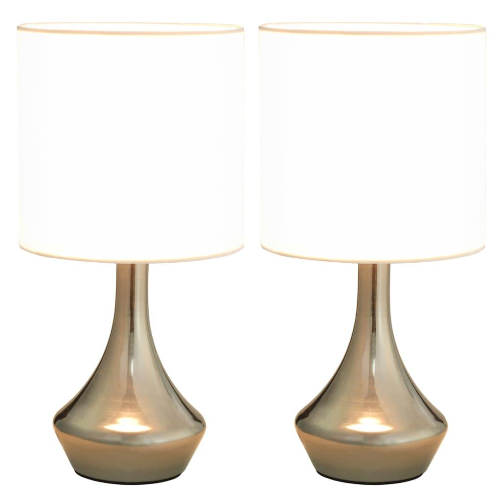 Lot de 2 Lampes de table tactiles Slim Métal Argent et Tissu Blanc