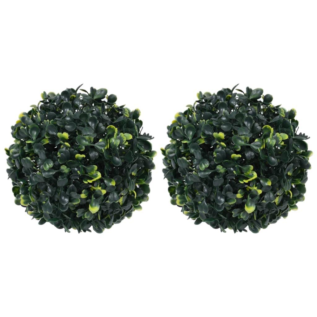Lot de 2 plantes artificielles Boules de buis 22cm Vert
