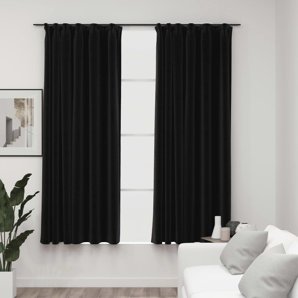 Lot de 2 rideaux Blackout + Crochets 140x225cm Lin Anthracite