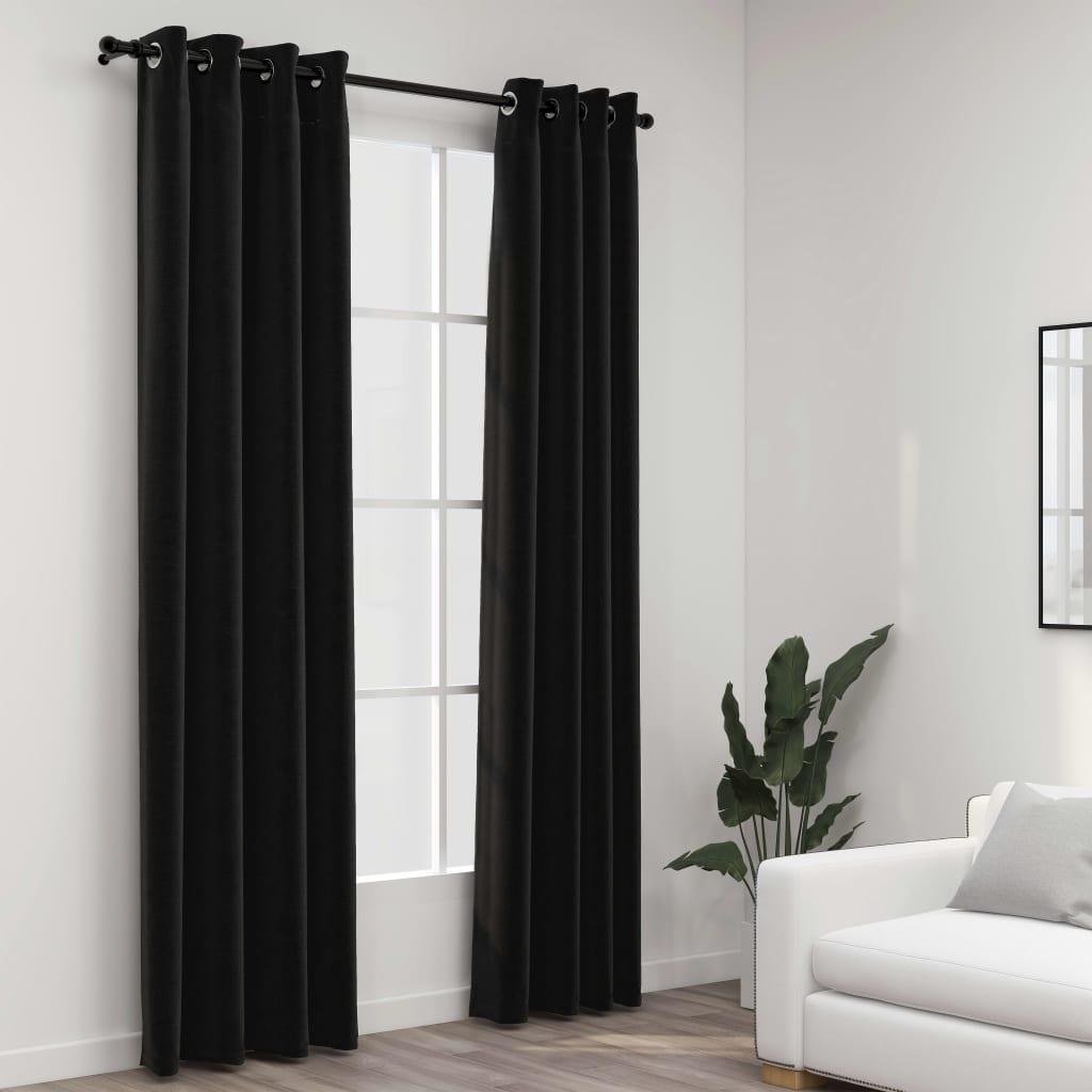 Lot de 2 rideaux Blackout + Œillets 140x225cm Lin Anthracite